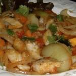 鱈、玉葱、かぼちゃの香菜ソテー